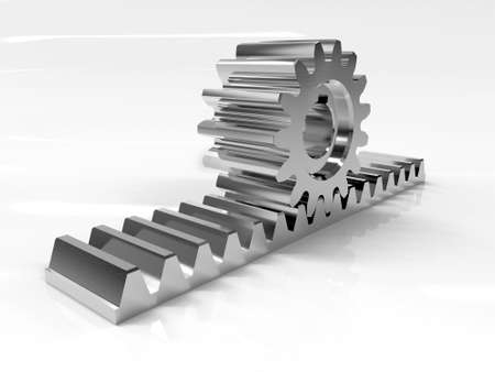 Rack gear. Image of a rack with a rolling gear wheel. Sliding gate mechanism. Educational image. 3D rendering Stock Photo