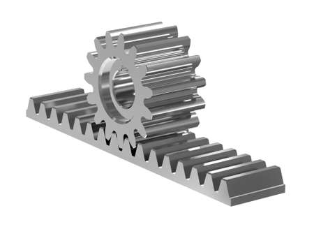 Rack gear. Image of a rack with a rolling gear wheel. Sliding gate mechanism. Educational image. 3D rendering