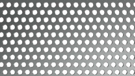 Steel perforated sheet. Sheet with holes. Background steel sheet with prostura. Wide format. 3D Rendering. Stock Photo