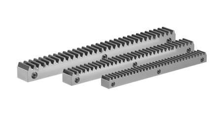 Complete rack for mounting sliding gates. Rack and pinion gear mechanism. 3D rendering