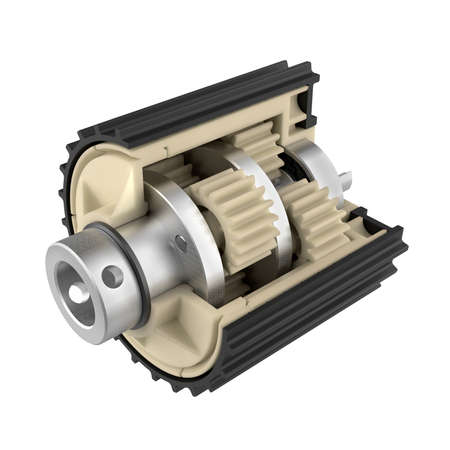 The reducer of the planetary gear in the cut. Educational aid about the device of mechanization. Plastic gears. 3D illustration
