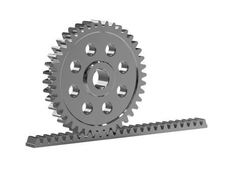 Rack gear. Image of a rack with a rolling gear wheel. Sliding gate mechanism. Educational image. Clipping patch. 3D Illustration