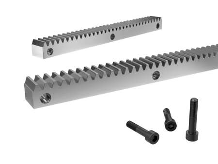 Rack gear. Image of a rack with a rolling gear wheel. Sliding gate mechanism. Educational image. 3D Illustration