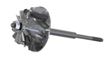 Turbine with blades disassembled. Turbine shaft. Clipping path. 3D rendering