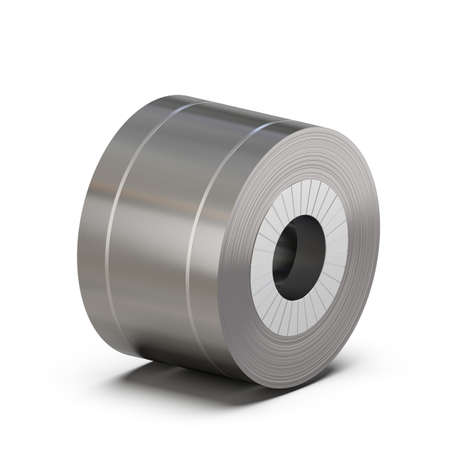 sheet steel roll wrapped with packing tape. Metal rolling production. 3D rendering.