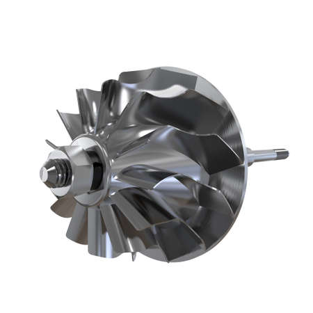 Turbine shaft of an automobile engine isolated on a white background. 3D rendering