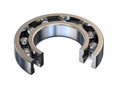 Sectional groove ball bearing. An example for custom. 3D rendering. Stock Photo