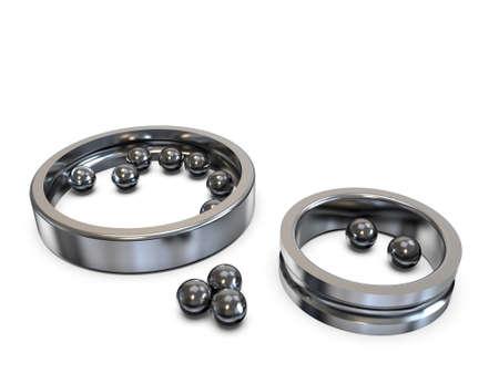 Broken radial ball bearing. Spilled steel balls. 3D rendering.