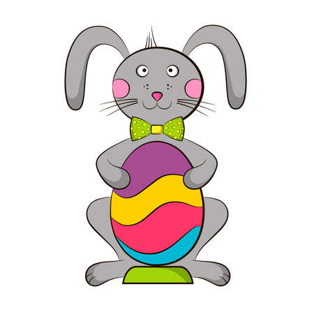 Easter bunny holding a multi-colored egg. A windy rabbit illustration with eggs for Easter holiday.