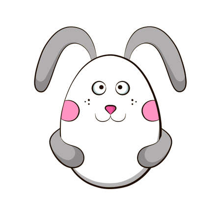 Easter egg with a rabbit face and ears. Иллюстрация