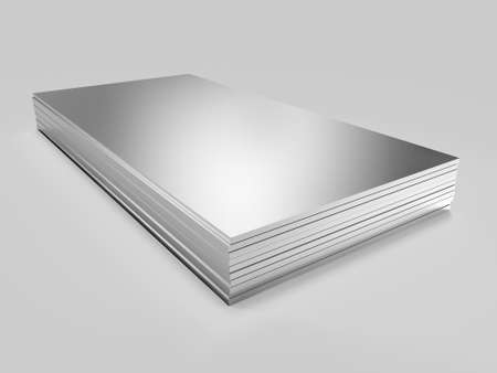 Stack of steel profile sheets. 3D Illustration