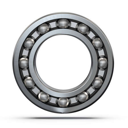 Radial ball bearing with caliper close-up. Ball bearing assembly. 3D rendering.