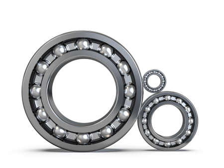 Set of radial ball bearings. Ball bearing assembly. 3D rendering. Stock Photo