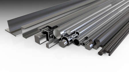 Set steel rolled products. Metal products. 3d rendering Stock Photo