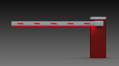 Automatic barrier with an boom. Paid parking. 3D Rendering Stock Photo