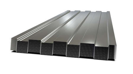 Steel profiled sheets stacked in stack. Sale of steel assortment. 3D Rendering Stock Photo