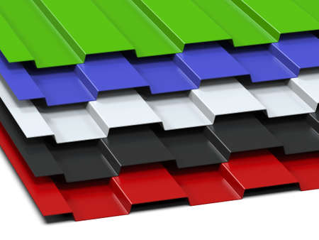 Mehrfarbige Stahlbleche, die in einem Stapel gestapelt sind. Verkauf von Stahlsortiment. 3D-Rendering