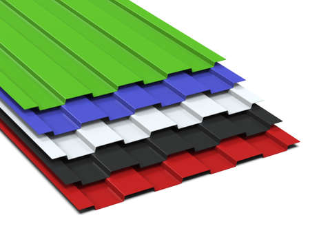 Steel profiled multi-colored sheets stacked in a stack. Sale of steel assortment. 3D Rendering