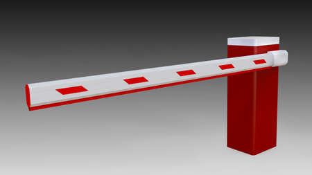 Automatic barrier with an boom isolate on background. Paid parking clipping patch. 3D illustration.
