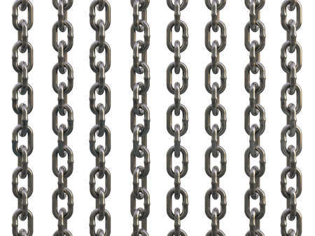 Steel galvanized chain isolated on white background. 3D Illustration
