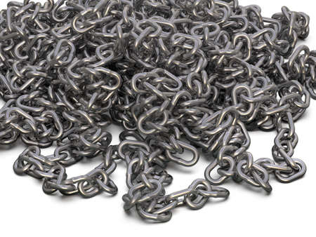 Steel chain isolated on white background. 3D Illustration
