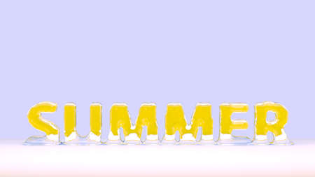 Melting ice in summer. Advertising booklet. Hot summer. 3D Rendering