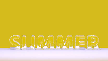 Inscription summer in the form of melting ice. Advertising thirst. 3D Rendering