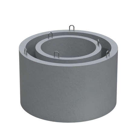 Reinforced concrete ring for a well. Concrete product. Blank for advertising. 3D Rendering Stock Photo