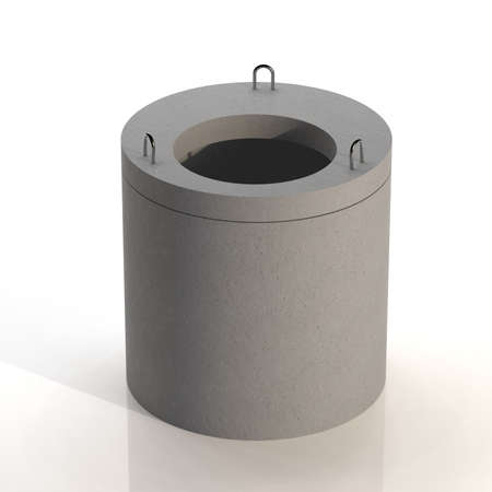 Sewer ring with lid. Septic in the village. 3D illustration
