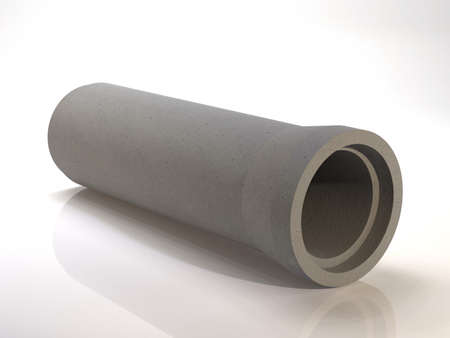 Concrete sewer pipe to drain waste. 3D illustration
