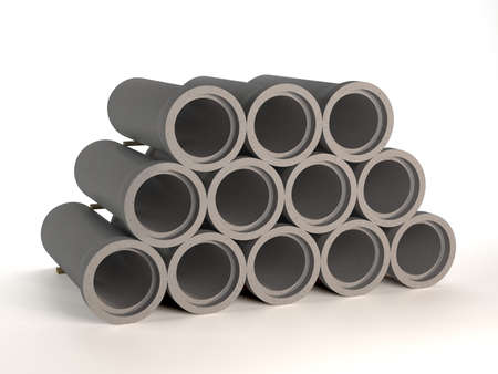 set of concrete pipes for sewage. Sewage in the city. 3D illustration 免版税图像