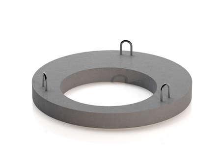 Cover for concrete sewer ring. Sewer manhole. 3D illustration 免版税图像