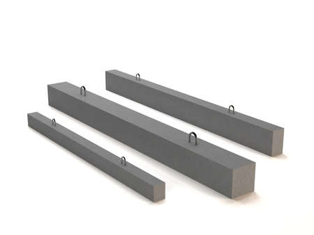 Reinforced concrete beam for construction isolated on white background. 3D illustration.