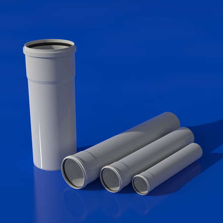 A set of sewer pipes made of polypropylene of different diameters. 3D illustration.
