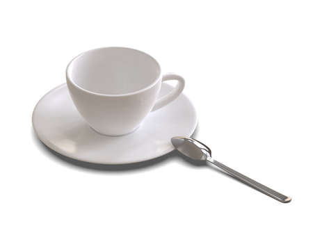 Set of ceramic dishes for coffee Isolated on a white background. 3D illustration.