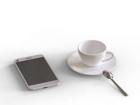 Coffee cup and phone isolated on a white background. 3D illustration. Stok Fotoğraf - 131761494