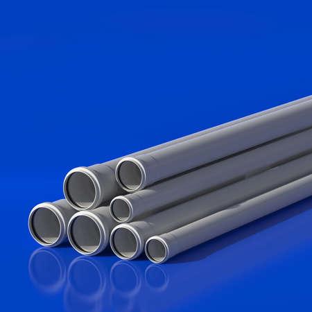 Plastic pipes of polypropylene for sewage. 3D illustration. 免版税图像