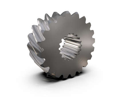 Helical bevel gear. Low-speed gear train. 3D rendering