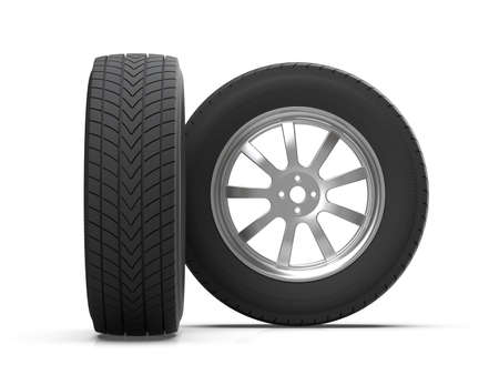 Preparation of the image of automobile wheels for promotional products. Car tires on alloy wheels. 3D illustration. 免版税图像