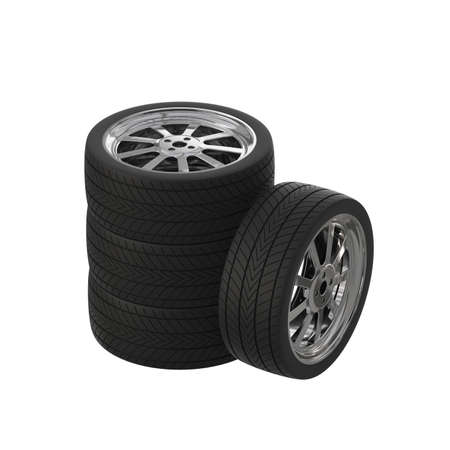 Preparation of the image of automobile wheels for promotional products. Car tires on alloy wheels. 3D rendering.