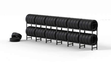 Car tires on rack with clipping path. 3d illustration.