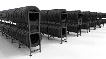 Car tires on rack  3d illustration.