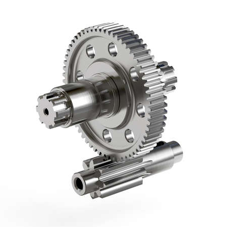 Spur gear, Gear-shaft on white background, 3D rendering, Educational image