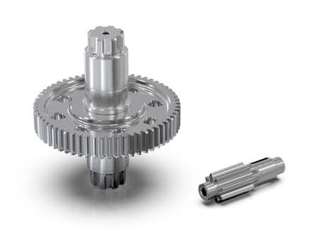 Spur gear, Gear-shaft on white background, Educational image. 3D Illustration 免版税图像
