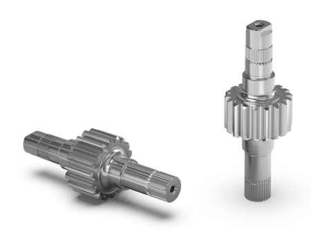 Gear Set, Spur gear, Gear-shaft on white background, 3D rendering.