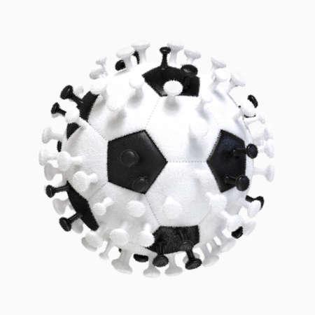 Soccer in pandemic coronavirus. Soccer ball in image of coronavirus. 3D Rendering.