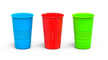 Set of multi-colored plastic disposable cups. 3D rendering
