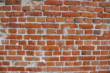 Red brick wall.Old brick.Wall of house.