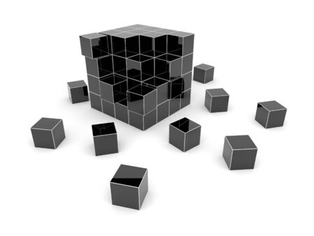 Black cube 3D. Isolated. photo