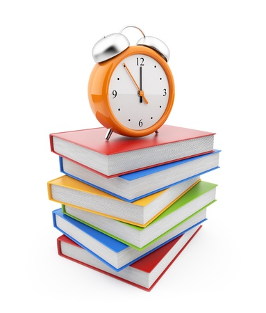Alarm clock standing on stack of books. 3D Isolated on white  photo